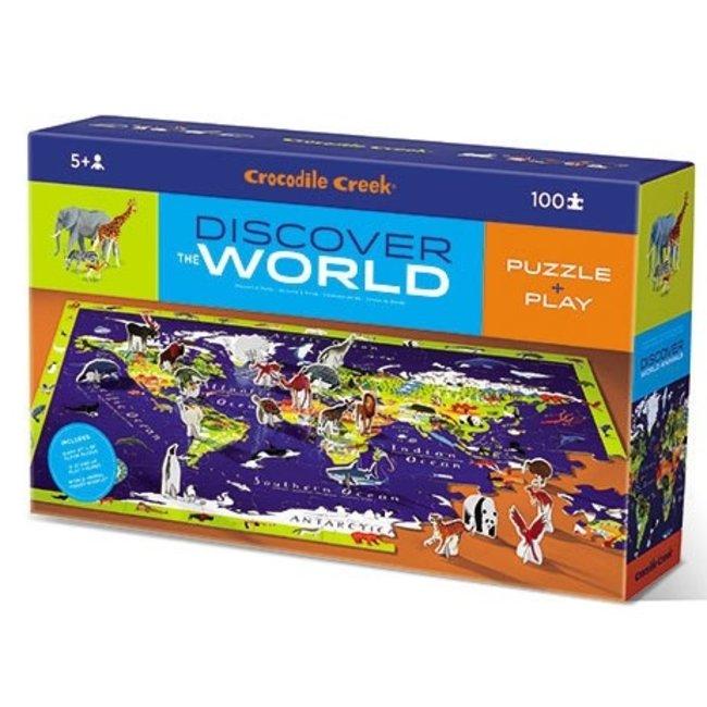 Crocodile Creek Ontdek de Wereld - Vloerpuzzel 100st + Speelset