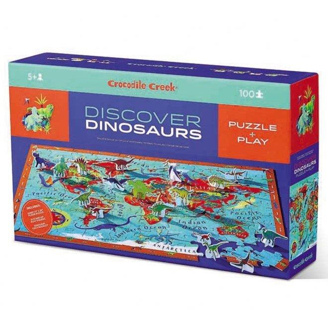 Ontdek de Wereld: Dinosaurussen- Vloerpuzzel 100st + Speelset