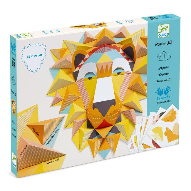 Vouwset 3D Poster Koning Leeuw    Djeco