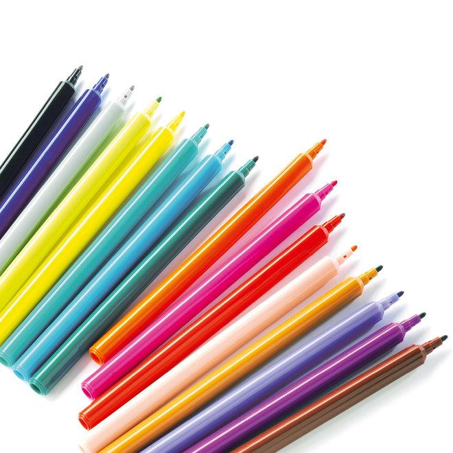 Fijne Viltstiften - 16 stuks