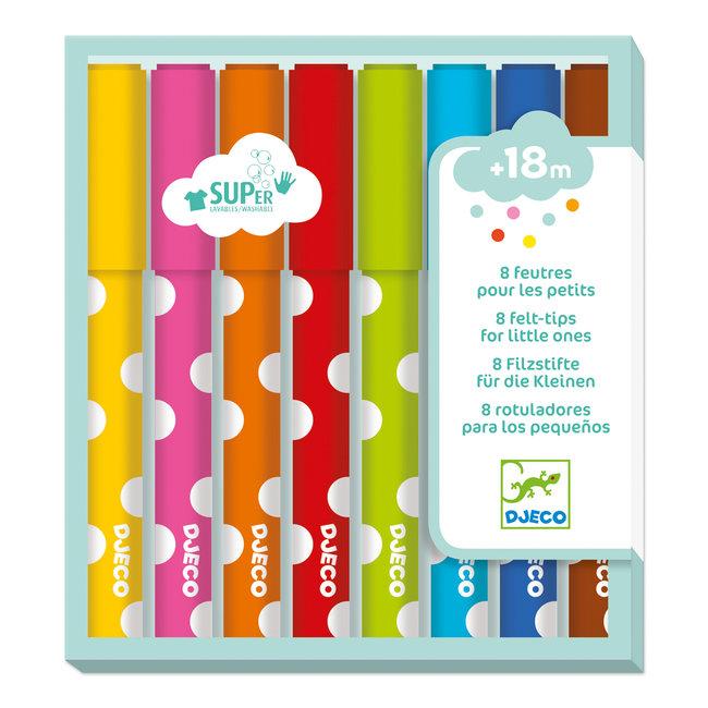 Djeco Viltstiften 8 stuks - Uitwasbaar