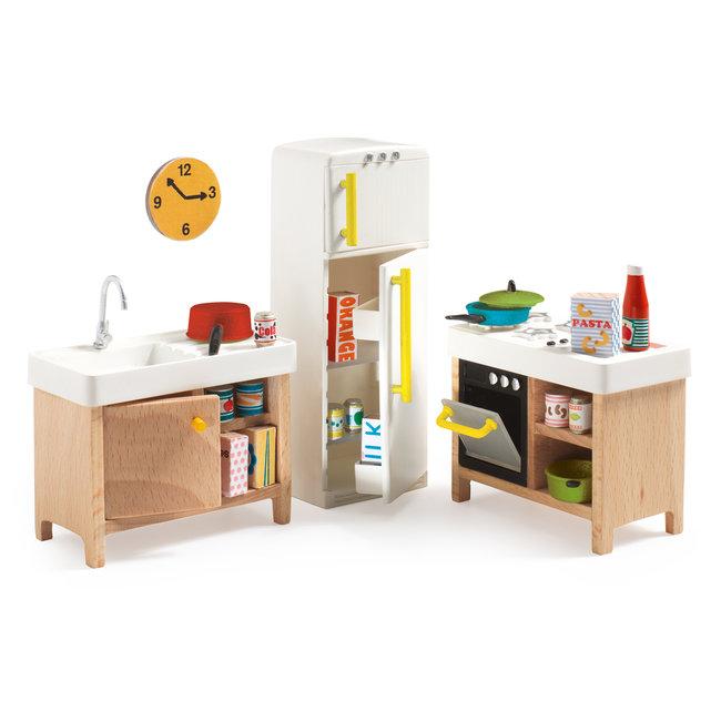 Poppenhuis Compacte Keuken - set 8st