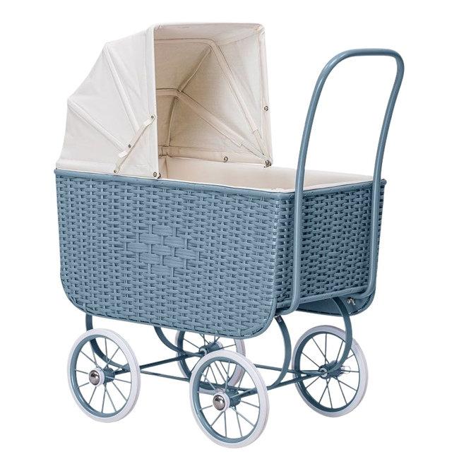 Astrup Vintage poppenwagen rattan - Blauw   By Astrup