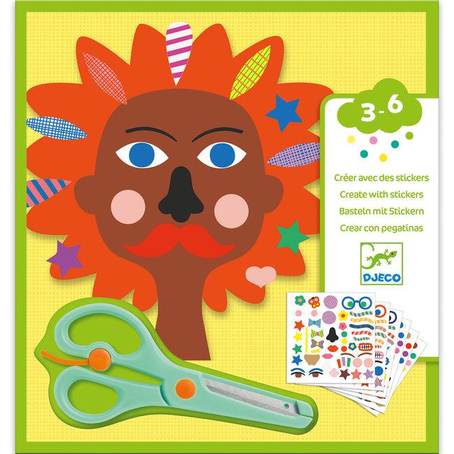 Djeco Knutselset: creëren met stickers - kapper   Djeco
