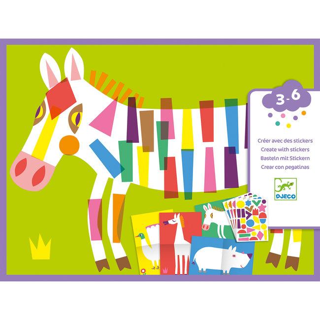 Djeco Knutselset Creëren Met Stickers - Grote Dieren | Djeco