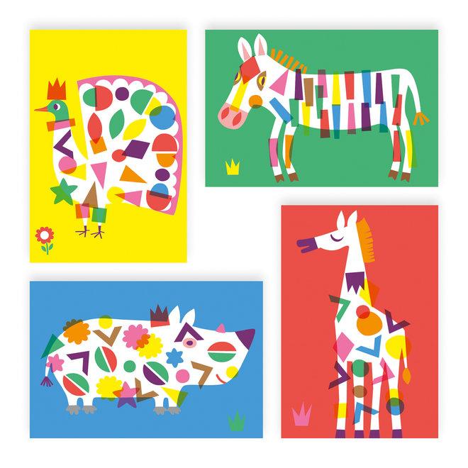 Knutselset Creëren Met Stickers - Grote Dieren   Djeco