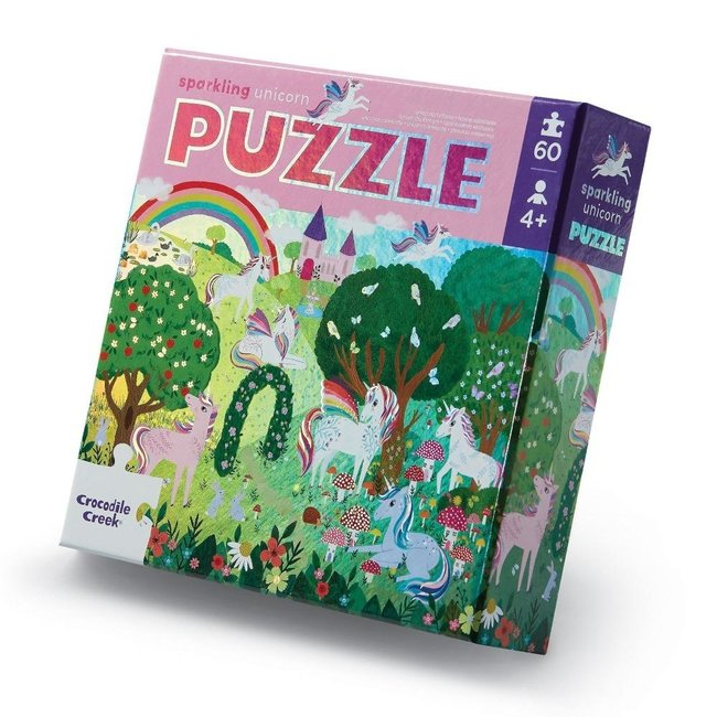 Crocodile Creek Foil puzzel Sparkling Unicorn - 60 stukken