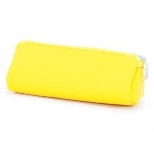 Lederen pennenzak / pennenetui geel   Own Stuff