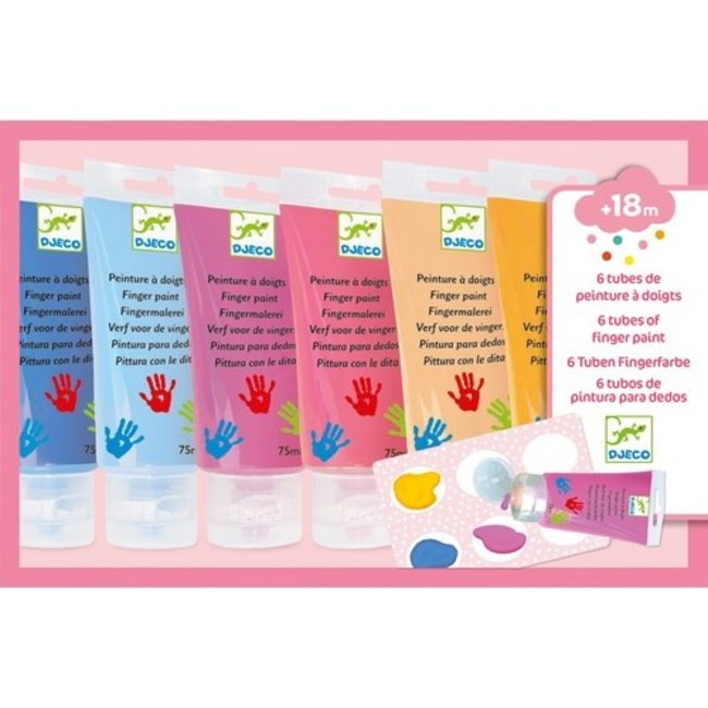 Djeco Vingerverf - 6 Tubes Zachte kleuren | Djeco