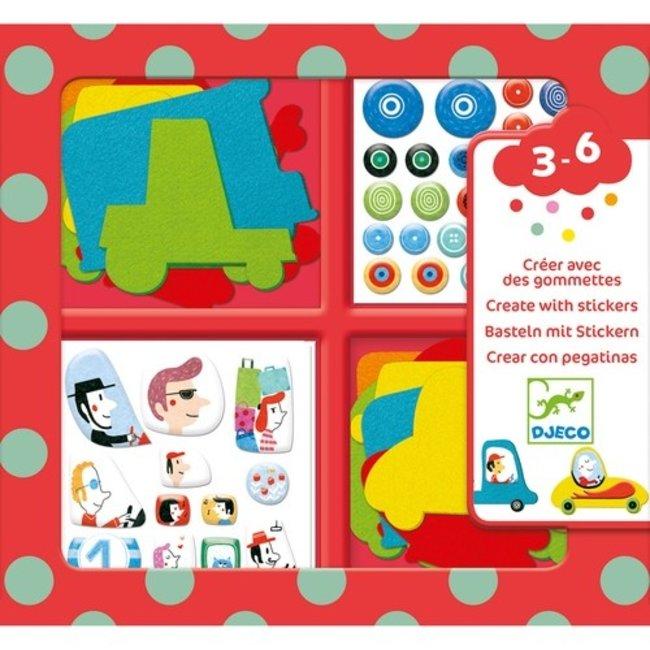 Djeco Sticker knutselset - Auto's  | Djeco
