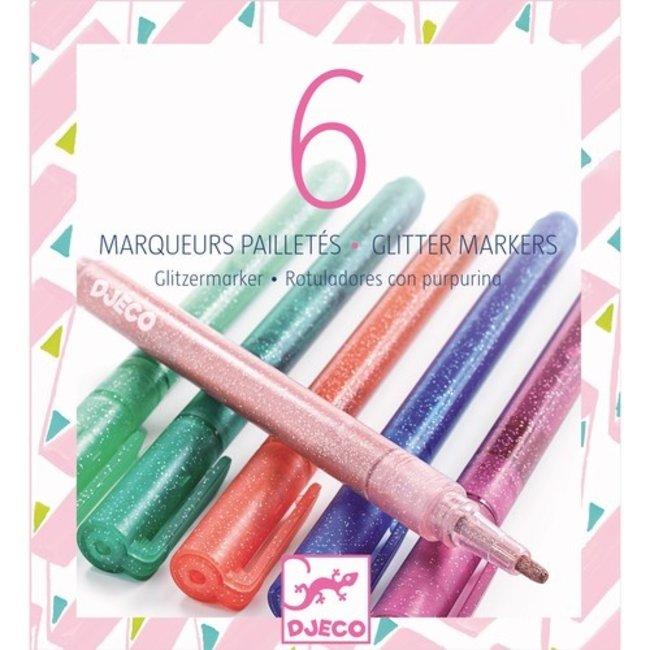 Gliterstiften Zachte kleuren - 6 stuks   Djeco