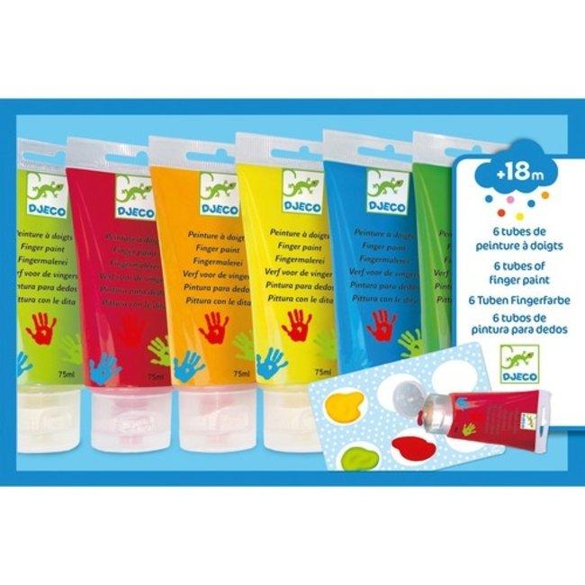 Djeco Vingerverf - 6 Tubes Klassieke kleuren | Djeco