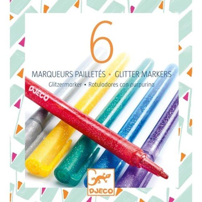 Gliterstiften Klassieke kleuren - 6 stuks | Djeco