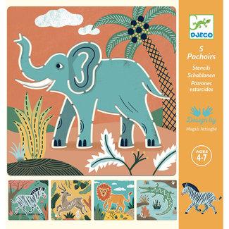 Djeco Tekensjablonen - Wilde dieren