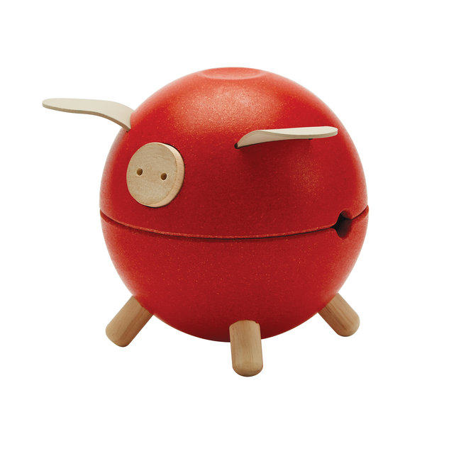 Plan Toys Spaarvarken - Rood