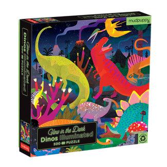 Mudpuppy Mudpuppy Dino's Puzzel glow in the dark 500st