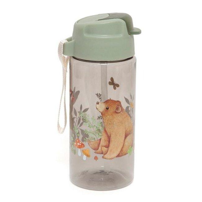Petit Monkey Drinkfles Bear And Friends Sage Green