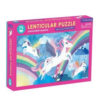 Mudpuppy Mudpuppy Lenticular Puzzel Unicorn Magic 75st.