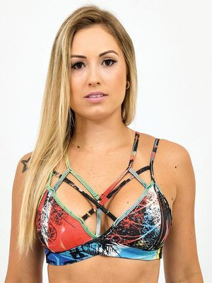 GraffitiBeasts Top with graffiti print model  Strapy 2ESAE
