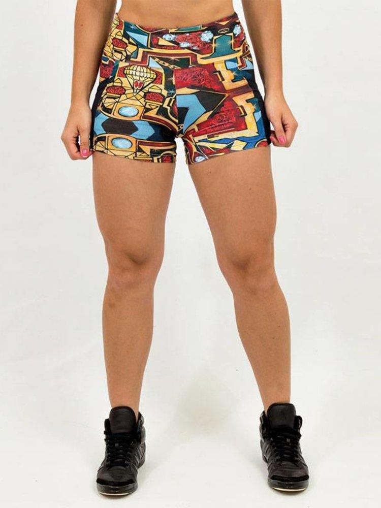 GraffitiBeasts Dames shorts met een uniek graffiti ontwerp van designer PARIZ ONE