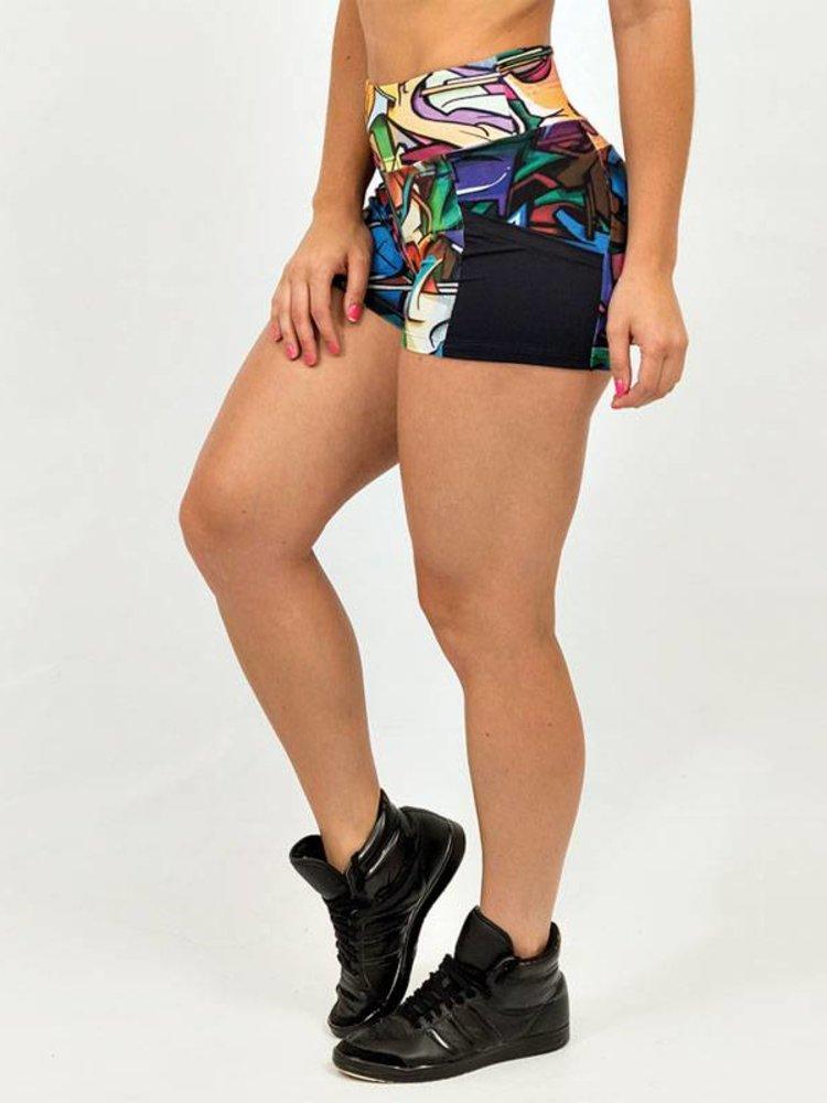 GraffitiBeasts Does - Pole Dance Damenshorts mit auffälligem Graffiti-Print