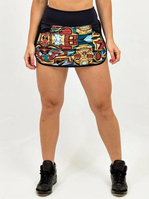 GraffitiBeasts Pariz One - Sporty Skirt with inner pants. The graffiti prints are works of art somewhere in the world.