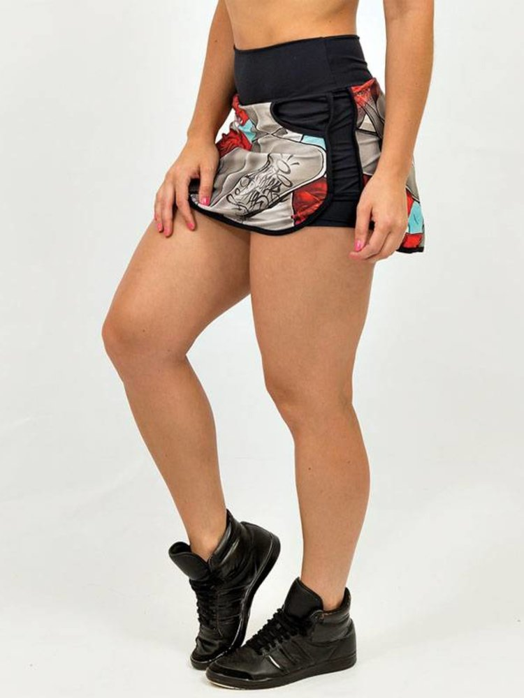 GraffitiBeasts Mr Dheo - Sporty Skirt with inner pants. The graffiti prints are works of art somewhere in the world.