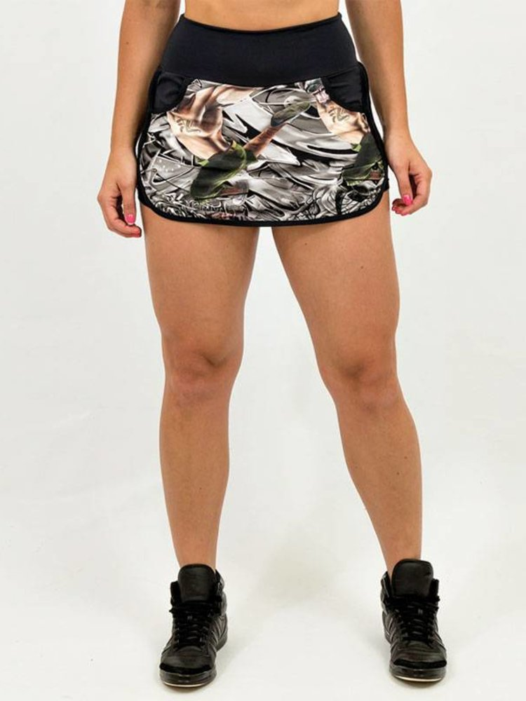 GraffitiBeasts Cost Two - Sporty Skirt with inner pants. The graffiti prints are works of art somewhere in the world.