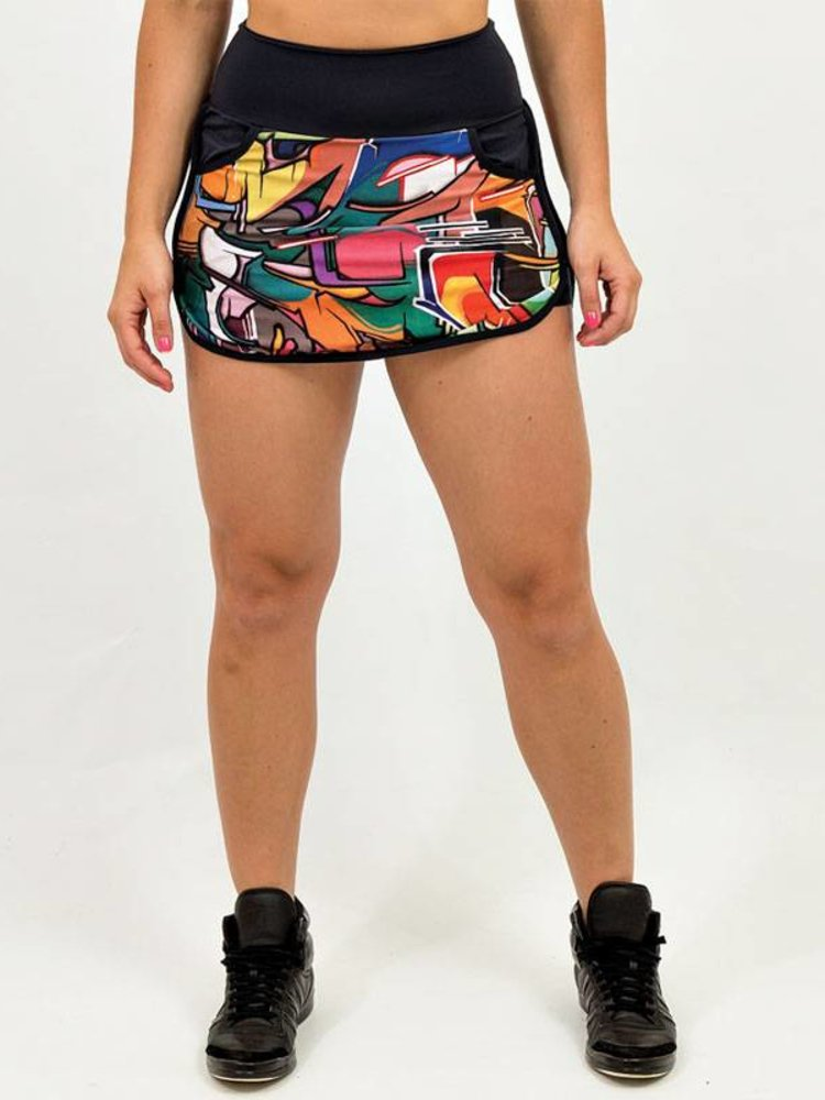 GraffitiBeasts Does - Sporty Skirt with inner pants. The graffiti prints are works of art somewhere in the world.
