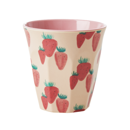 Melamine cup M strawberry print