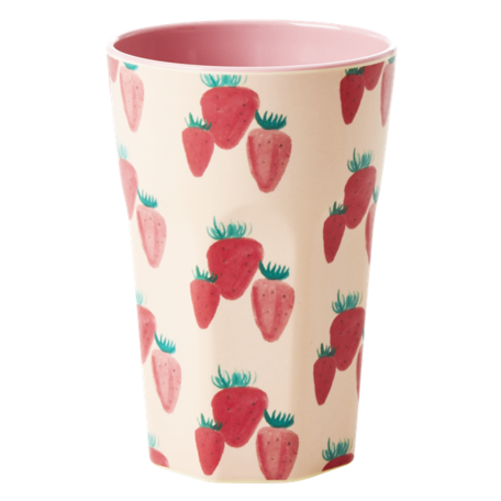 melamine cup L strawberry  print