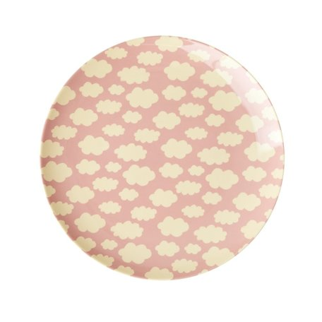 melamine lunch plate pink clouds print