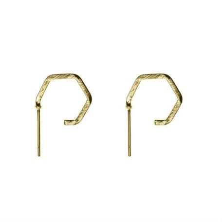 polygon earrings gold