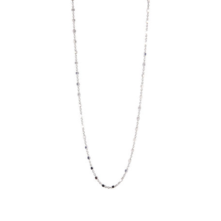 square beaded necklace silver
