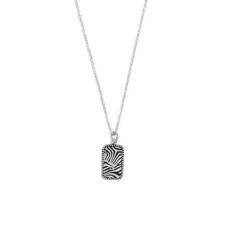 necklace zebra rechthoek zilver