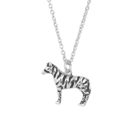 souvernir necklace zebra zilver