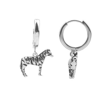 souvernir earrings zebra silver