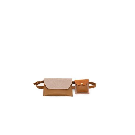 belt bag cinnamon brown + dusty pink