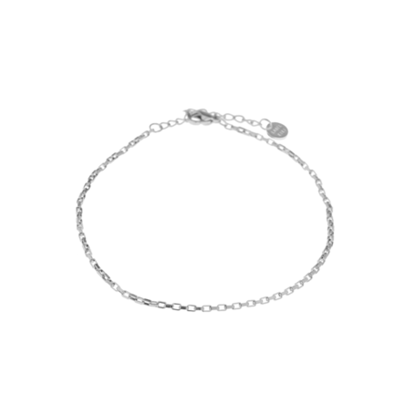square chain anklet silver