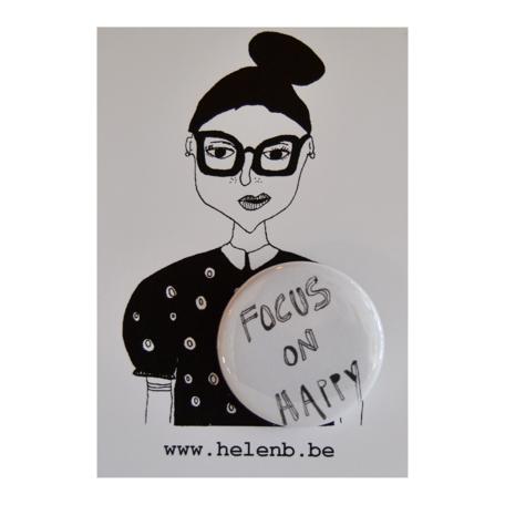 """button """"focus on happy""""  helen b"""