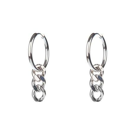 rhodium curb chain hoops