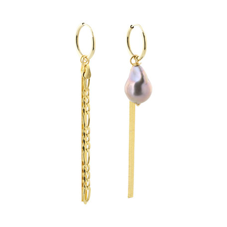 asymmetric Figaro sling and tahiti pearl earring