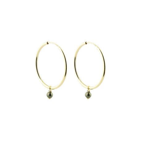 Hoops with small green Japanese Akoya pearls