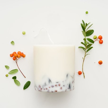 soy wax candle L Munio ashberry & bilberry leaves