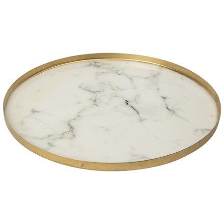 Gusta decoratie plateau 35cm wit marmer look