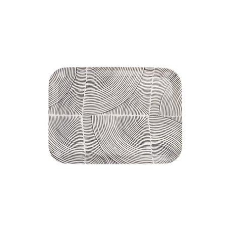 melamine dienblad grafisch patroon  43 x 32cm zwart