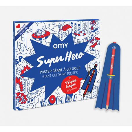 super hero  poster + crayon