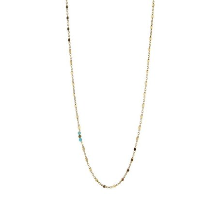 square beaded necklace with turquoise beads