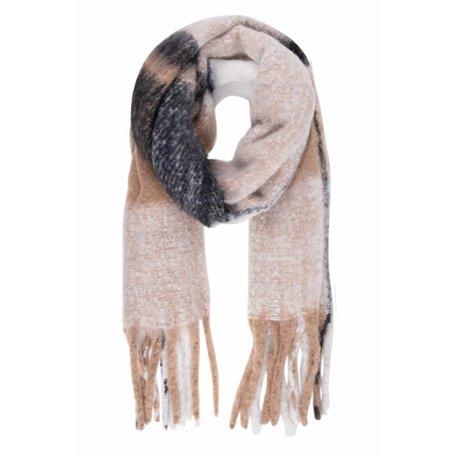 geruite sjaal met franjes taupe
