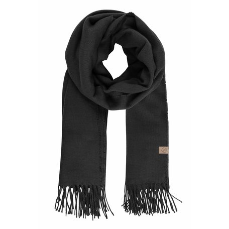 basic sjaal met franjes zwart